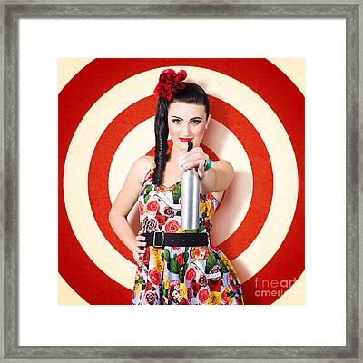 Beautiful Housewife Taking Aim With Cleaning Spray Framed Print by Jorgo Photography - Wall Art Gallery