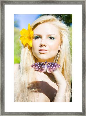 Beautiful Natural Blonde With Butterfly Framed Print
