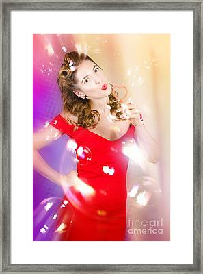 Beautiful Pin-up Girl At Retro Disco Dance Party Framed Print by Jorgo Photography - Wall Art Gallery