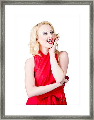 Beautiful Pin Up Girl Smiling And Whispering Framed Print by Jorgo Photography - Wall Art Gallery