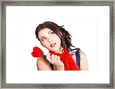 Beautiful Pinup Girl Holding Candy. Sweet Heart Framed Print by Jorgo Photography - Wall Art Gallery