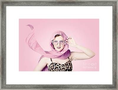 Beautiful Retro Girl In Pink 1950 Pinup Fashion Framed Print by Jorgo Photography - Wall Art Gallery