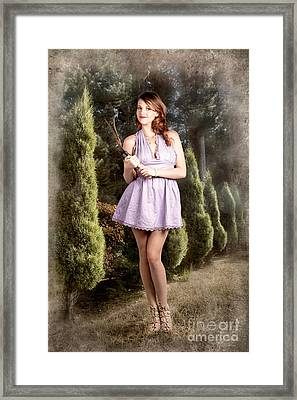 Beautiful Retro Maid With Hedge Clippers In Garden Framed Print by Jorgo Photography - Wall Art Gallery
