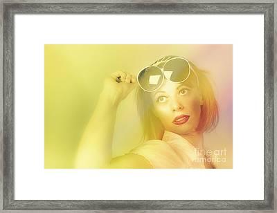 Beautiful Retro Pin-up Girl Wearing Futuristic Sunglasses  Framed Print