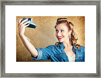 Beautiful Retro Woman Taking Selfie With Camera Framed Print