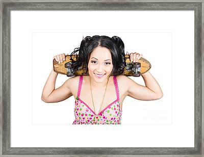 Beautiful Skater Woman Holding Grunge Skate Deck Framed Print by Jorgo Photography - Wall Art Gallery