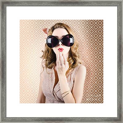 Beautiful Surprised Girl Wearing Big Sunglasses Framed Print by Jorgo Photography - Wall Art Gallery