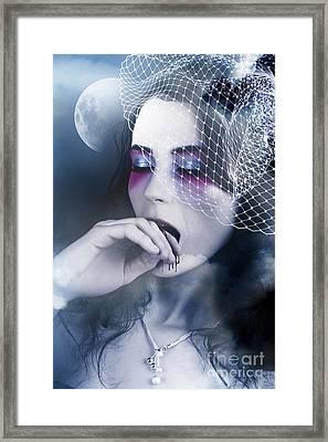 Beautiful Vampire Woman At Full Moon Framed Print by Jorgo Photography - Wall Art Gallery