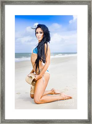 Beautiful Woman At Seaside Framed Print by Jorgo Photography - Wall Art Gallery
