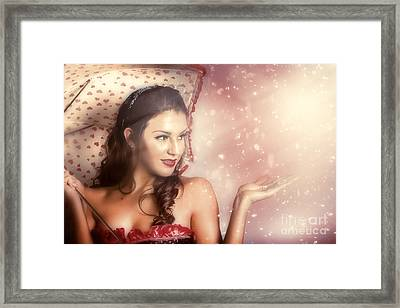 Beautiful Woman Catching Rain In Summer Sun Shower Framed Print