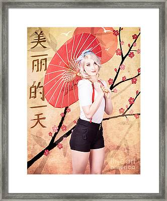 Beautiful Woman Celebrating The Chinese New Year Framed Print by Jorgo Photography - Wall Art Gallery