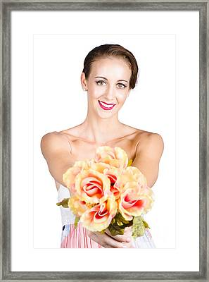 Beautiful Woman Holding Florist Flowers Framed Print by Jorgo Photography - Wall Art Gallery