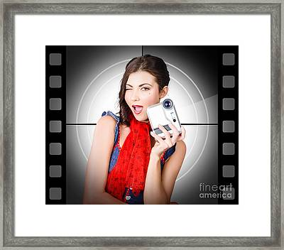 Beautiful Woman Holding Home Video Camera Framed Print by Jorgo Photography - Wall Art Gallery
