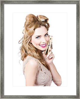 Beautiful Woman Holding Large Cleaning Peg Framed Print