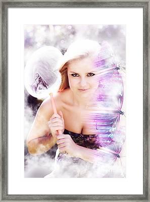 Beautiful Woman In Flight Of Fantasy Framed Print by Jorgo Photography - Wall Art Gallery