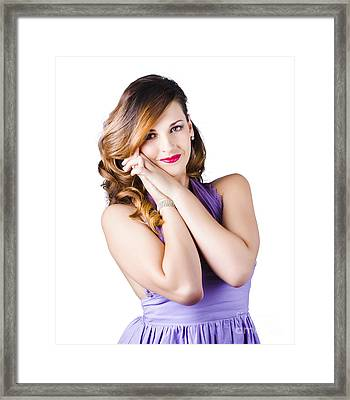 Beautiful Woman In Purple Dress Framed Print by Jorgo Photography - Wall Art Gallery