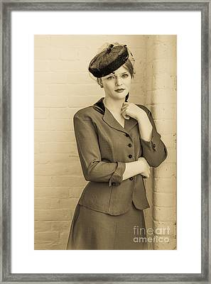 Beautiful Woman In Vintage Forties Clothing Framed Print by Diane Diederich