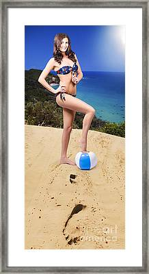 Beautiful Woman Relaxing At The Beach Framed Print