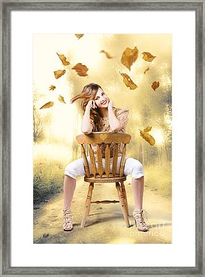 Beautiful Woman Sitting In Autumn Field Framed Print by Jorgo Photography - Wall Art Gallery