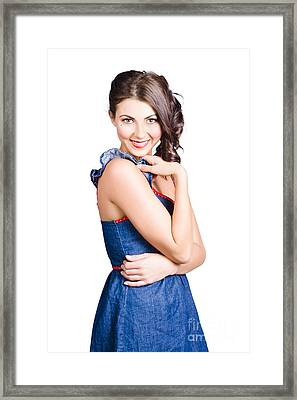 Beautiful Woman Wearing Denim Dress Retro Fashion Framed Print by Jorgo Photography - Wall Art Gallery