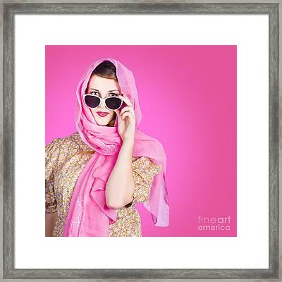 Beautiful Woman Wearing Pink Headscarf Fashion Framed Print