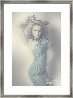Beautiful Young Blonde Girl In Blue Dress Framed Print
