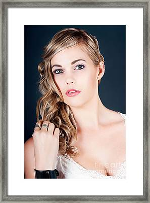 Beautiful Young Bride With Perfect Hair And Makeup Framed Print by Jorgo Photography - Wall Art Gallery