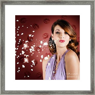 Beautiful Young Girl In Love Blowing Lipstick Kiss Framed Print