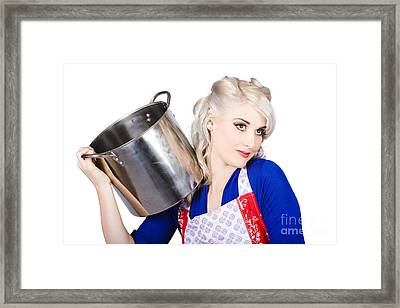 Beautiful Young Housewife Holding Kitchen Utensils Framed Print
