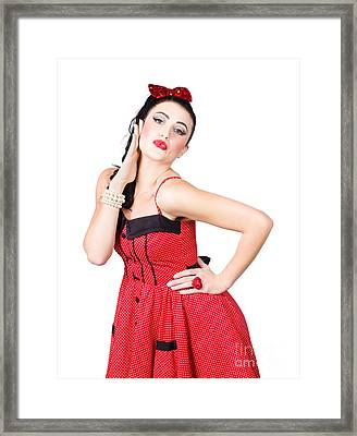 Beautiful Young Pin-up Woman In Retro Fashion Framed Print