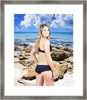 Beautiful Young Swimwear Model On Beach Background Framed Print