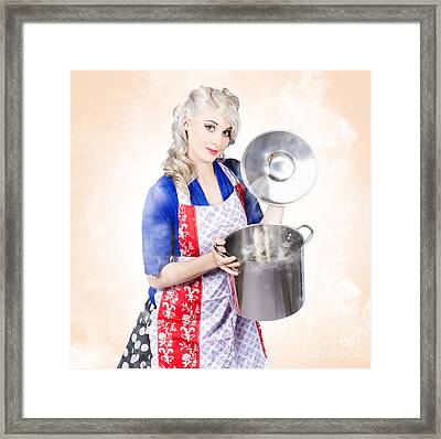 Beautiful Young Vintage Housewife Cooking Up Meal Framed Print