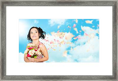 Beautiful Young Woman Holding Spring Flower Bunch  Framed Print by Jorgo Photography - Wall Art Gallery