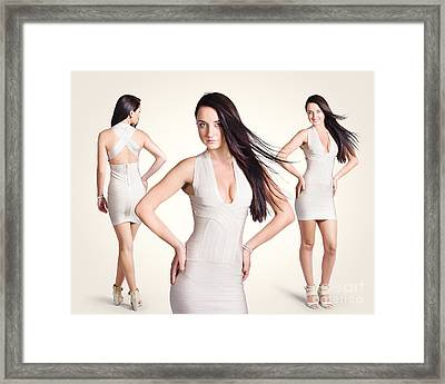 Beautiful Young Women Standing In Trendy Fashion Framed Print