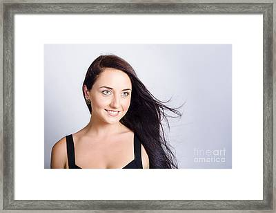 Beauty And Cosmetics Girl With Natural Makeup Framed Print
