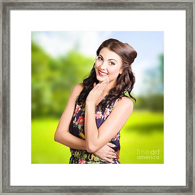 Beauty Girl. Beautiful Young Woman With Clean Skin Framed Print by Jorgo Photography - Wall Art Gallery