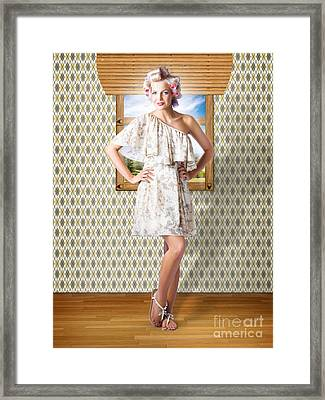 Beauty Photo Of Hair Makeup And Fashion Model Framed Print