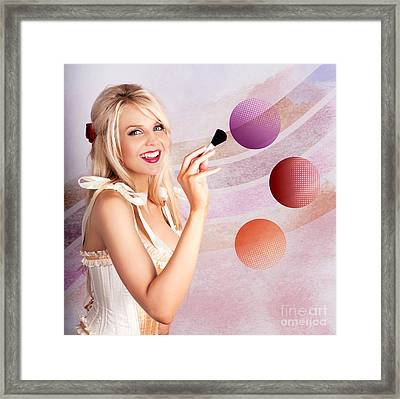 Beauty Woman Using Rouge Blush Color Pallet Framed Print by Jorgo Photography - Wall Art Gallery