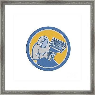 Beekeeper Honey Farmer Bee Smoker Circle Retro Framed Print by Aloysius Patrimonio