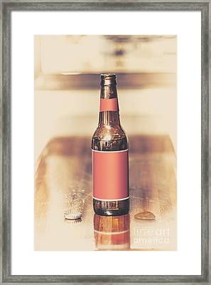 Beer Bottle And Guitar Pick On Bar. Top Pick Framed Print by Jorgo Photography - Wall Art Gallery