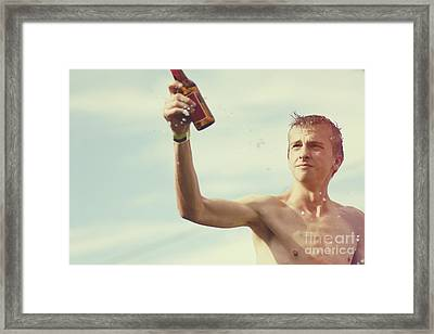 Beer Festival Man Throwing Beer At Oktoberfest Framed Print by Jorgo Photography - Wall Art Gallery
