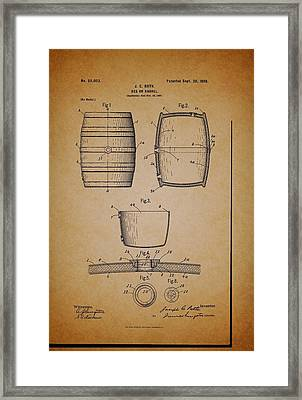 Beer Keg Patent - 1898 Framed Print