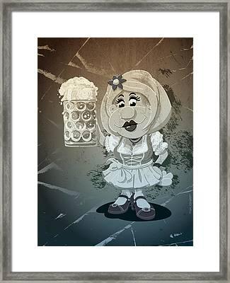 Beer Stein Dirndl Oktoberfest Cartoon Woman Grunge Monochrome Framed Print by Frank Ramspott