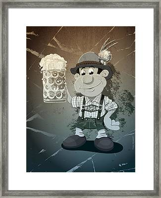 Beer Stein Lederhosen Oktoberfest Cartoon Man Grunge Monochrome Framed Print by Frank Ramspott