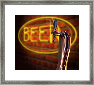 Beer Tap Single With Neon Sign Framed Print by Allan Swart