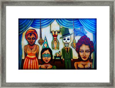 Behind The Blue Velvet Curtain Framed Print by Sherry Dooley