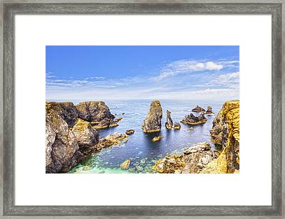 Belle-ile Brittany France Les Aiguilles De Port Coton Framed Print by Colin and Linda McKie