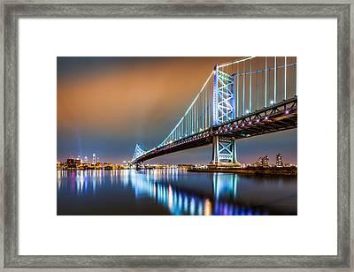 Ben Franklin Bridge And Philadelphia Skyline By Night Framed Print