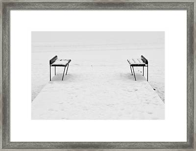 Benches On A Dock Framed Print