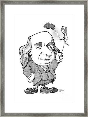 Benjamin Franklin Caricature Framed Print by Science Photo Library